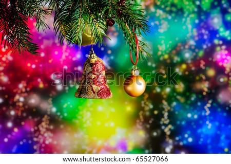 Christmas decoration on colorful light background - stock photo
