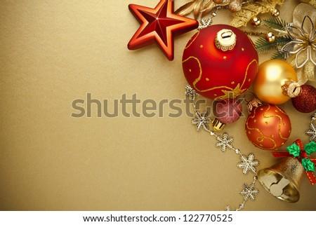 Christmas decoration on gold background - stock photo