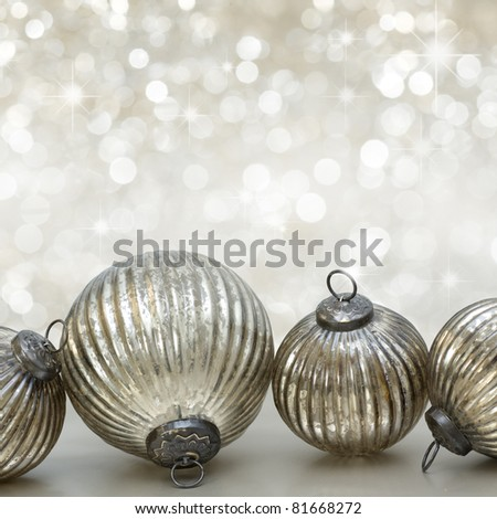 Christmas decoration on light background with stars - stock photo