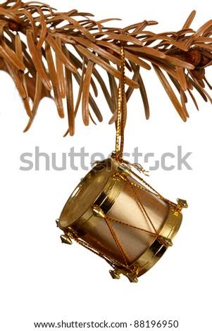 Christmas decoration on old christmas tree - stock photo
