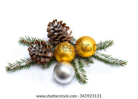 Christmas decoration on snow - stock photo