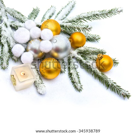 Christmas decoration on snow - stock photo