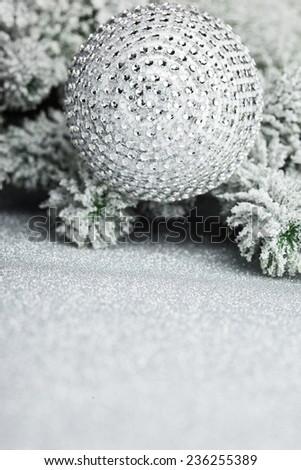 Christmas decoration on sparkles background - stock photo