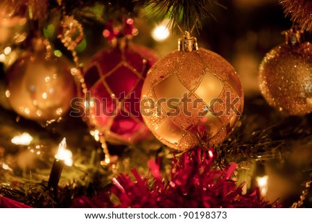 Christmas decoration on the Christmas tree - stock photo
