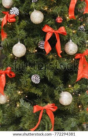 Christmas decoration on the Christmas tree close-up
