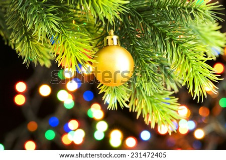 Christmas decoration on the fir tree - stock photo