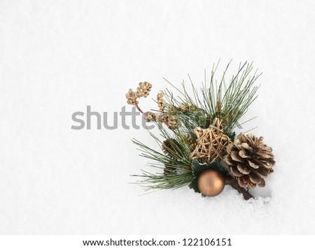 Christmas decoration on the snow - stock photo