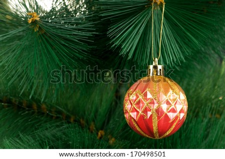 Christmas decoration on the tree - holiday concept - stock photo