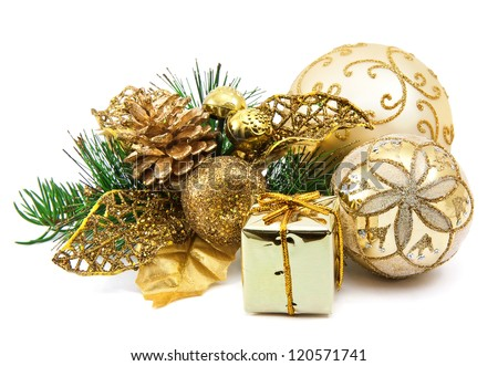 christmas decoration on the white background - stock photo