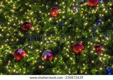 Christmas decoration on tree background - stock photo