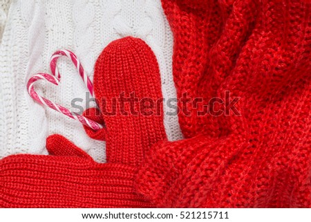 Christmas decoration on warm clothes. Design for your New Year`s card