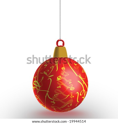 Christmas decoration on white background, hanging airborne, the extra size. With work path, ideal for cutting