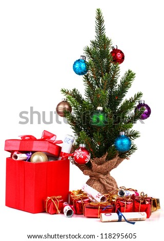 Christmas decoration  on white background with present - stock photo