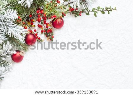 Christmas decoration on white texture - stock photo