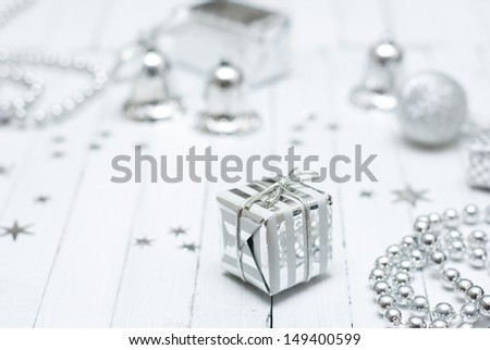 christmas decoration on white wooden table background - stock photo