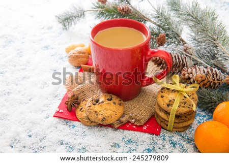 Christmas decoration on wood background - stock photo