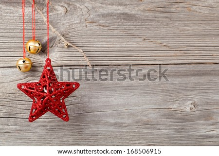 Christmas decoration on wood background, with free space for your text - stock photo
