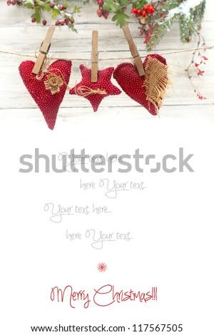 Christmas decoration on wooden background - stock photo