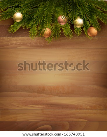 Christmas decoration on wooden background. Raster version of vector - stock photo