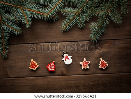 Christmas decoration on wooden background vintage christmas card - stock photo