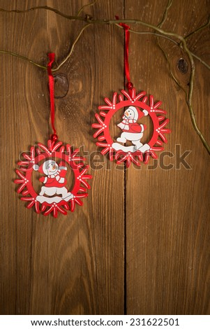 Christmas decoration on wooden planks in retro style - stock photo