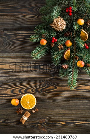 Christmas decoration on wooden table - stock photo