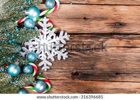 christmas decoration on wooden table, christmas natural decorations - stock photo
