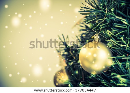 Christmas decoration ornament background - vintage and snow filter effect - stock photo