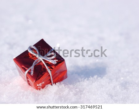 Christmas decoration outside in real snow winter - stock photo