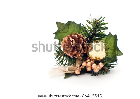 Christmas decoration over a white background - stock photo