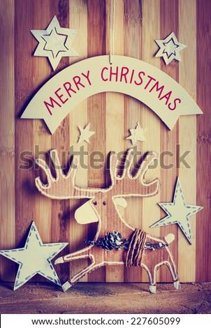 Christmas decoration over grunge background/vintage christmas card - stock photo