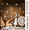 Christmas decoration over grunge background/vintage paper christmas decoration - stock photo