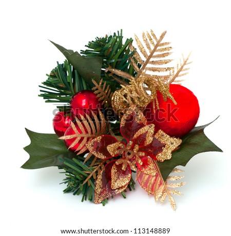 Christmas decoration over white - stock photo