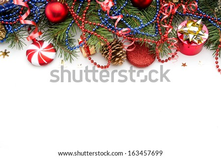 Christmas Decoration Over white Background - stock photo