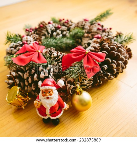 Christmas Decoration Over Wooden Background. Decorations over Wood. Vintage. Selective focus - stock photo
