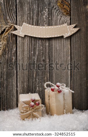 Christmas decoration over wooden background for congratulations - stock photo