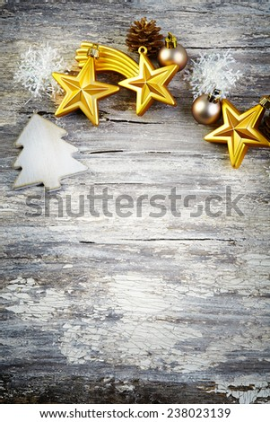 Christmas decoration over wooden background. Vintage style. - stock photo