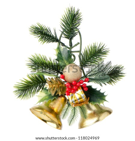 Christmas Decoration photo on the white background. - stock photo