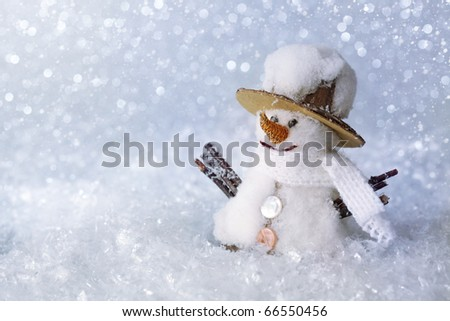 Christmas decoration -snowman with snow - stock photo