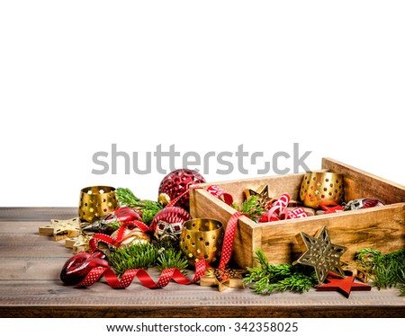 Christmas decoration, toys and ornaments. Red stars, baubles, ribbons. Holidays background. - stock photo