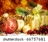 Christmas decoration. vintage background with space for text or image. - stock photo