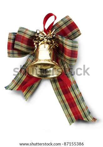 Christmas decoration with a bell, and colored tape, isolated on white. - stock photo