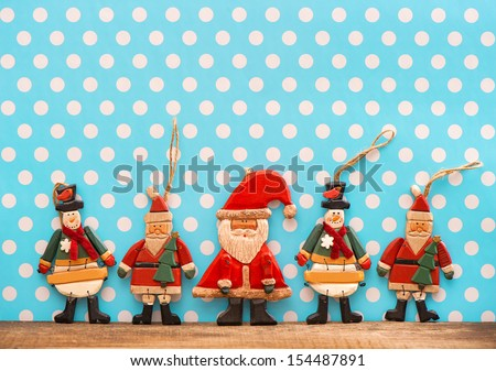 christmas decoration with antique handmade wooden toys. sentimental nostalgic retro style picture - stock photo