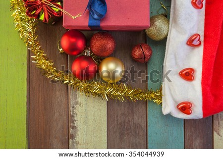 Christmas decoration with ball and gift - stock photo