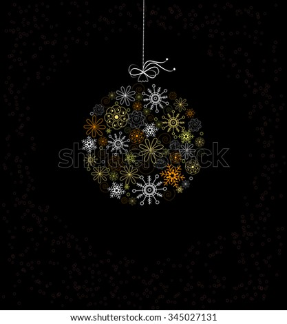 Christmas decoration with bauble from colored snowflakes. - stock photo