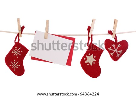 Christmas decoration with blank card isolated on white background