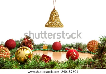 Christmas decoration with blue ornamentals and stars and green fir tree on white surface with copyspace. Christian festive decoration. Blank space place for text and advertising, greeting card - stock photo