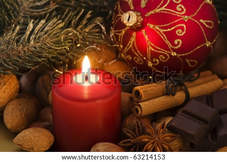 Christmas Decoration with Candlelight - stock photo