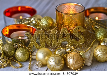Christmas decoration with candles. - stock photo