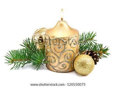 Christmas decoration with candles and fir tree on white - stock photo